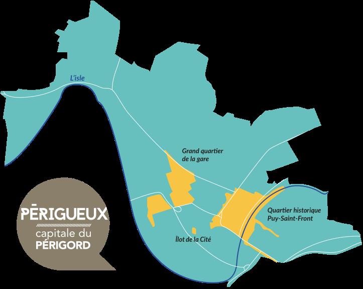 Carte des quartiers éligibles de Périgueux