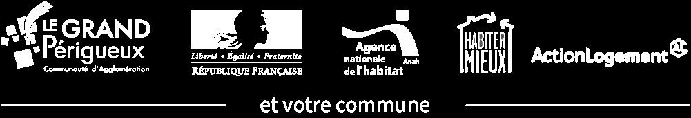 Partenaires du programme Amélia2 : Grand Périgueux, État Français, ANAH, département de la Dordogne